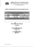 Calendário das Reuniões Ordinárias da Câmara Municipal de Minas Novas (Exercício de 2019) - Mês de janeiro