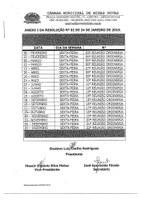 Calendário das Reuniões Ordinárias da Câmara Municipal de Minas Novas (Exercício de 2019)