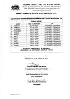 Calendário das Reuniões Ordinárias da Câmara Municipal de Minas Novas (Exercício de 2021) - 01º Semestre