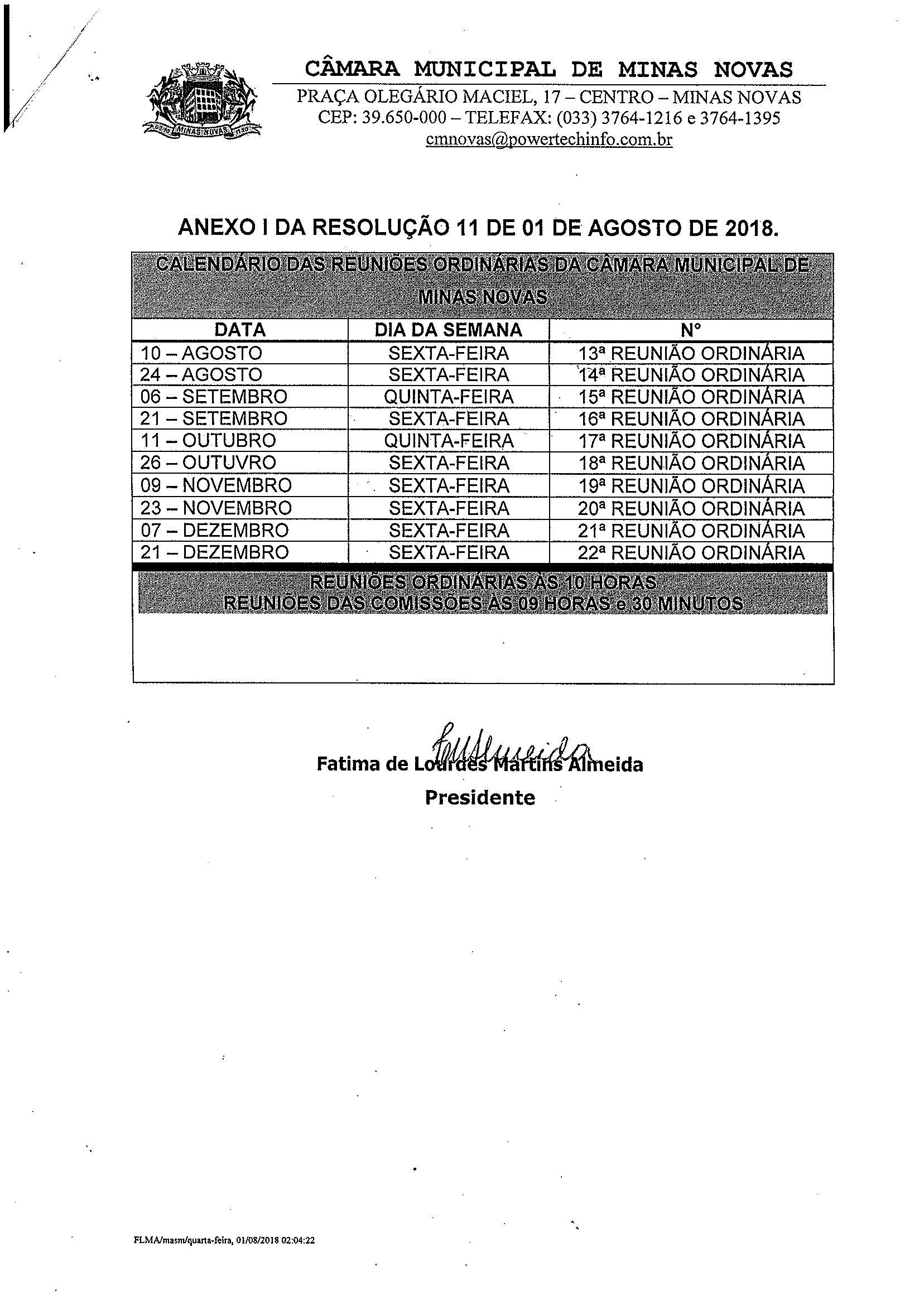 Calendário das Reuniões Ordinárias da Câmara Municipal (Exercício de 2018) - 02º Semestre