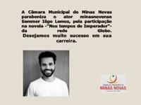 Homenagem da Câmara Municipal de Minas Novas ao jovem ator minasnovense, Sammer Iêgo Lemos